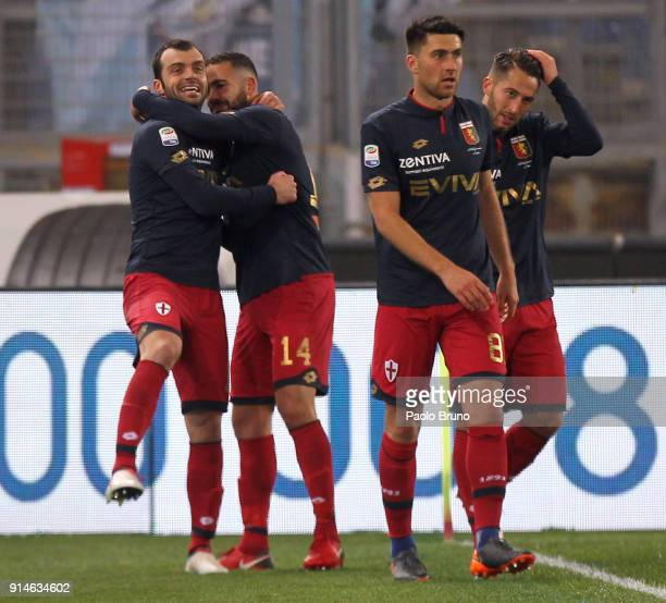 Goran Pandev with his teammates of Genoa celebrates after scoring the opening goal during the Serie A match between SS Lazio and Genoa at Stadio...