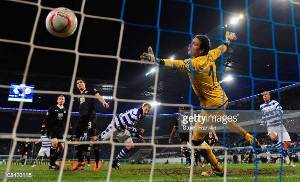 Goran Sukalo of Duisburg scores the second goal during the DFB Cup quarter final match between MSV Duisburg and 1 FC Kaiserslautern at the...