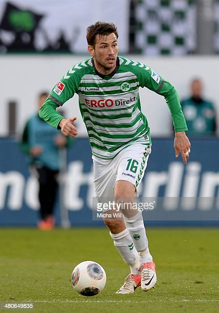 Goran Sukalo of Fuerth controls the ball during the second Bundesliga match between Greuther Fuerth and Fortuna Duesseldorf at TrolliArena on March...
