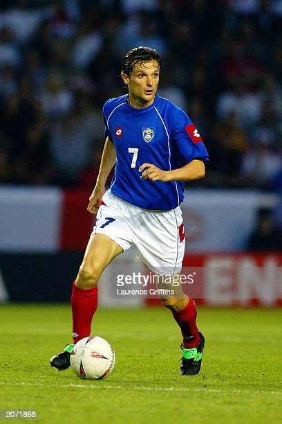 Goran Trobok of Serbia and Montenegro runs with the ball during the International friendly between England and Serbia and Montenegro on June 3 2003...