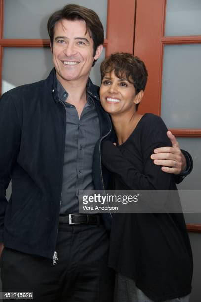 Goran Visnjic and Halle Berry at the Extant Set Visit at Culver Studios on June 25 2014 in Culver City California