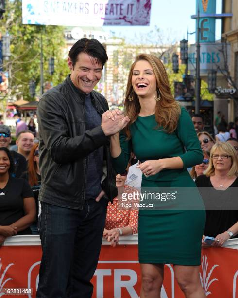 Goran Visnjic and Maria Menounos visit Extra at The Grove on February 28 2013 in Los Angeles California