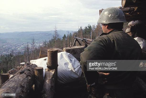 Gorazde after the end of Serbs siege in Gorazde Bosnia And Herzegovina on April 27 1994 Serbs around the city
