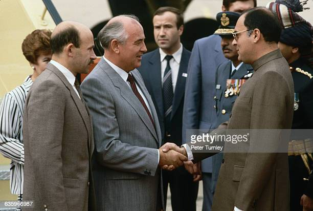 Gorbachev Shaking Hands with Rajiv Gandhi