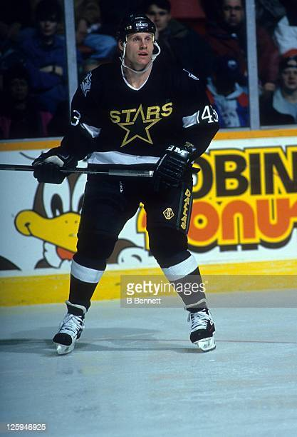 Gord Donnelly of the Dallas Stars skates on the ice during an NHL game against the Winnipeg Jets on March 2 1994 at the Winnipeg Arena in Winnipeg...