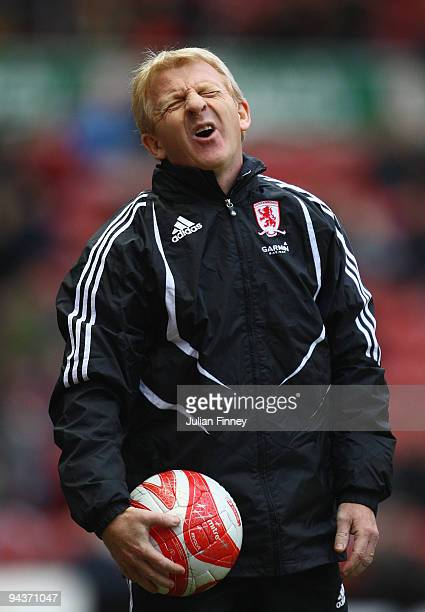 Gordan Strachan of Middlesbrough reacts during the CocaCola Championship match between Middlesbrough and Cardiff City at the Riverside Stadium on...