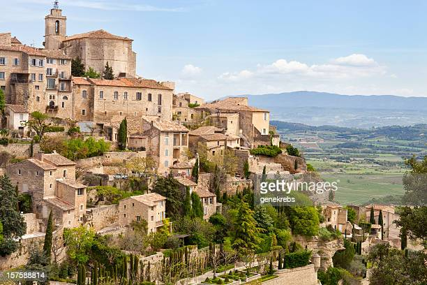 gordes, provence, france, spring, valley of luberon - village stock pictures, royalty-free photos & images