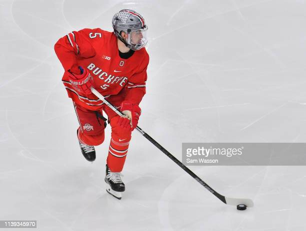 Gordi Myer of the Ohio State Buckeyes skates with the puck during his team's NCAA Division I Men's Ice Hockey West Regional Championship Semifinal...