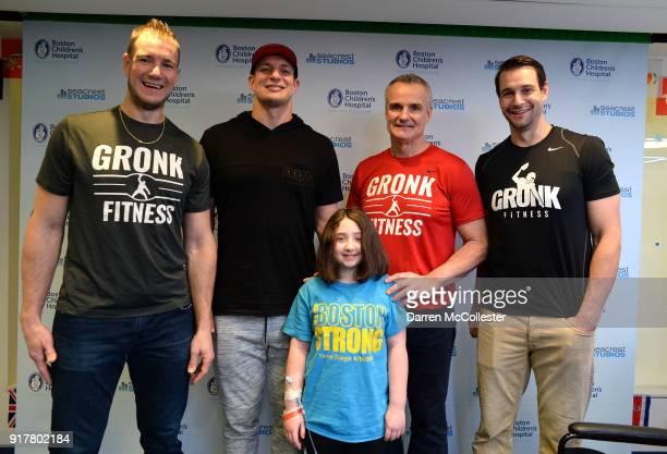 Gordie Gronkowski Jr Rob Gronkowski Gordy Gronkowski and Dan Gronkowski pose for a picture with Madilyn at Boston Children's Hospital on February 13...