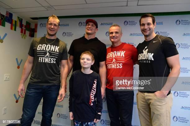 Gordie Gronkowski Jr Rob Gronkowski Gordy Gronkowski and Dan Gronkowski pose for a picture with Jack at Boston Children's Hospital on February 13...