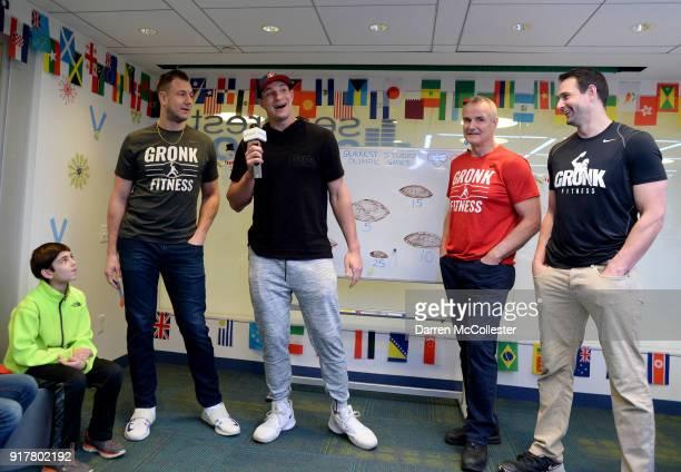 Gordie Gronkowski Jr Rob Gronkowski Gordy Gronkowski and Dan Gronkowski present a check from 'Gronk Nation' to Boston Children's Hospital on February...
