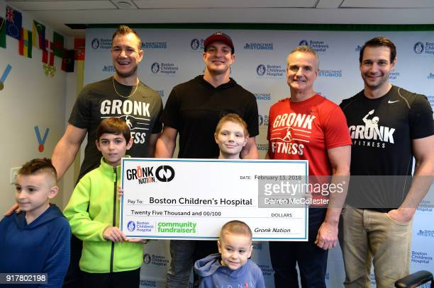 Gordie Gronkowski Jr Rob Gronkowski Gordy Gronkowski and Dan Gronkowski present a check from Gronk Nation at Boston Children's Hospital on February...