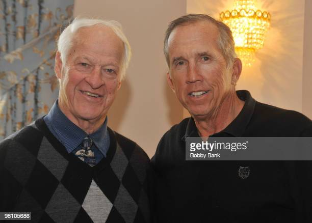Gordie Howe and Davey Johnson attend the Solid Gold Autograph show at the Meadowlands Plaza on March 27 2010 in Secaucus New Jersey
