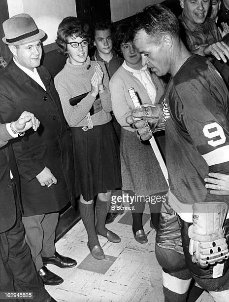 Gordie Howe of the Detroit Red Wings walks back to the dressing room after he scored the 545th goal of his career against the Montreal Canadiens on...