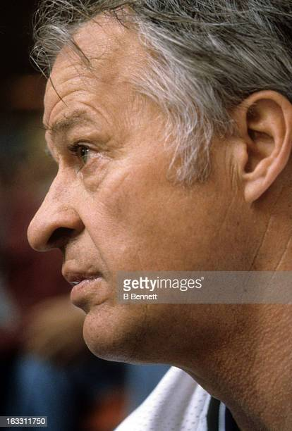 Gordie Howe of the Hartford Whalers looks on from the penalty box during his last game against the Montreal Canadiens in Game 3 of the Preliminary...