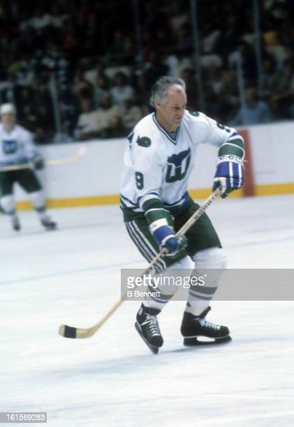 Gordie Howe of the Hartford Whalers skates on the ice during an NHL game in March 1980 at the Hartford Civic Center in Hartford Connecticut