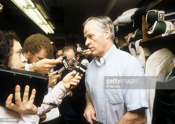 Gordie Howe of the Hartford Whalers speaks to the media after Game 3 of the 1980 Preliminary Round against the Montreal Canadiens on April 11 1980 at...