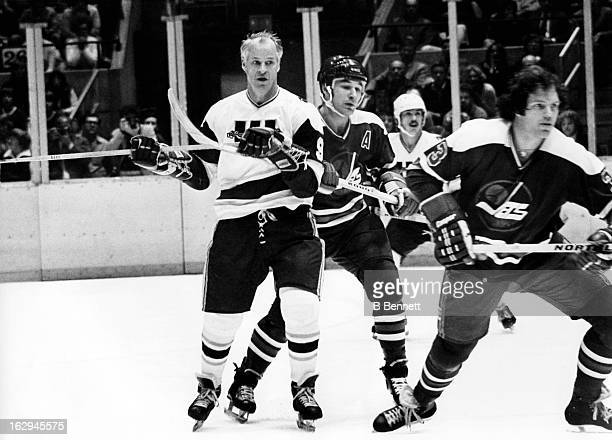 Gordie Howe of the New England Whalers skates on the ice during an WHA game against the Winnipeg Jets circa 1978 at the Hartford Civic Center in...