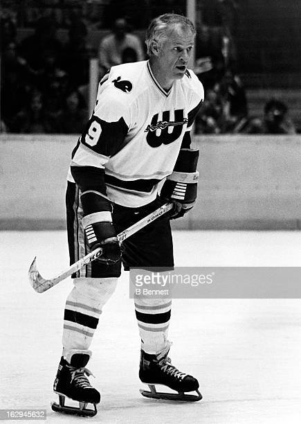 Gordie Howe of the New England Whalers skates on the ice during an WHA game circa 1978 at the Hartford Civic Center in Hartford Connecticut