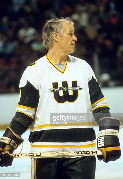 Gordie Howe of the New England Whalers stands on the ice during an WHA game in April 1979 at the Hartford Civic Center in Hartford Connecticut
