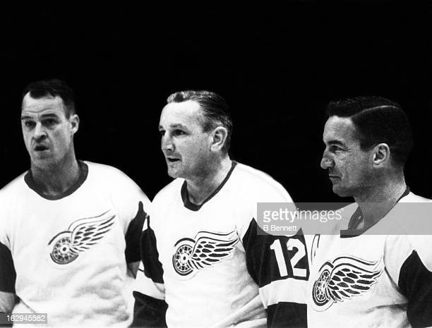 Gordie Howe Sid Abel and Ted Lindsay of the Detroit Red Wings pose for a portrait on January 15 1964 in Detroit Michigan The threesome were known as...