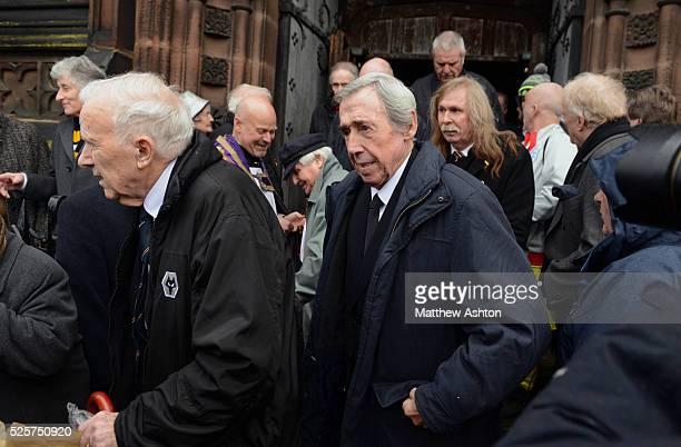 Gordon Banks former England Stoke City and Leicester City goalkeeper along with family friends colleagues and fans attend the memorial service to...