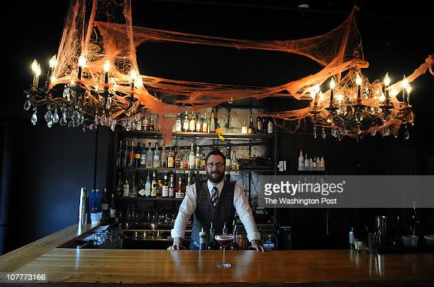 Gordon Banks mixes drinks at Jackie's Sidebar in Silverspring, MD. A speciality for this time of the year is his Bebida Moradon, a drink mixed of...