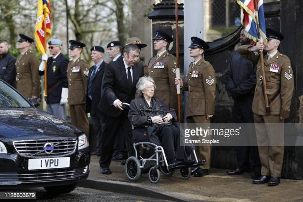 Gordon Banks' wife Ursula attends the funeral of 1966 World Cup and former Stoke City Goalkeeper Gordon Banks on March 04 2019 in Stoke England...