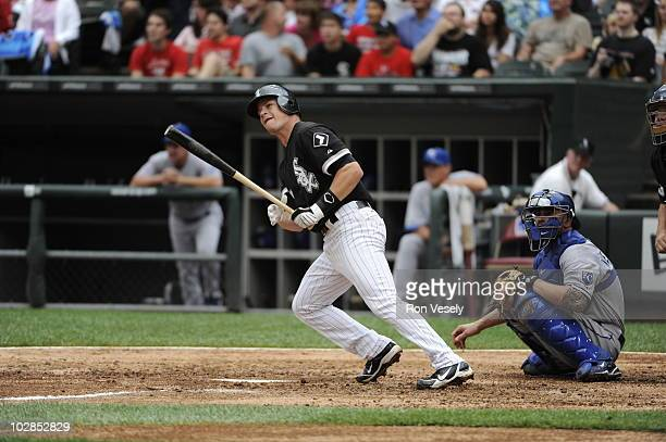 Gordon Beckham of the Chicago White Sox hits a home run in the fifth inning against the Kansas City Royals on July 10 2010 at US Cellular Field in...