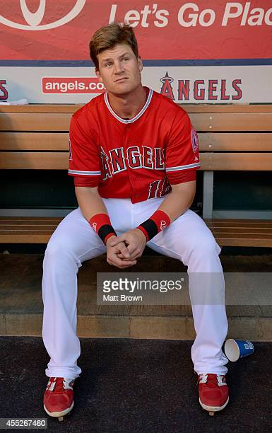 Gordon Beckham of the Los Angeles Angels of Anaheim sits in the dugout before the game against the Oakland Athletics on August 28 2014 at Angel...