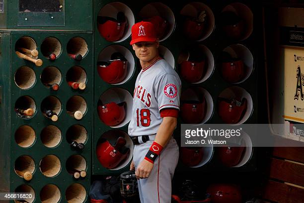 Gordon Beckham of the Los Angeles Angels of Anaheim stands in the dugout before the game against the Oakland Athletics at Oco Coliseum on September...
