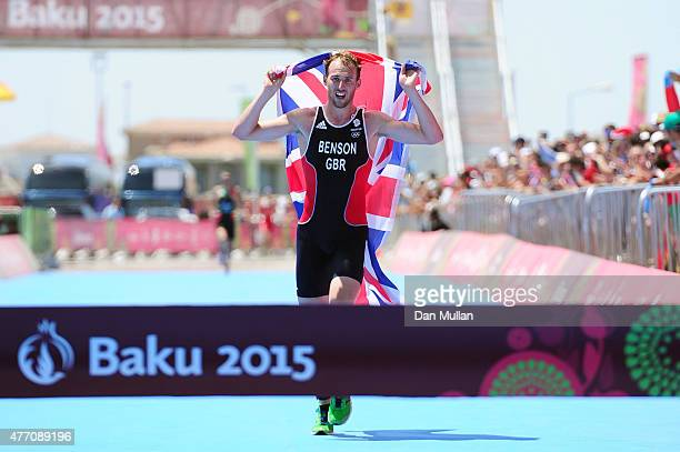 Gordon Benson of Great Britain approaches the finish line to win gold in the Men's Triathlon Final during day two of the Baku 2015 European Games at...