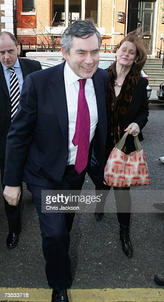 Gordon Brown and his wife Sarah arrive at Christ Church Kensington for the wedding of Alan Parker and Jane Hardman on March 9 2007 in London England...
