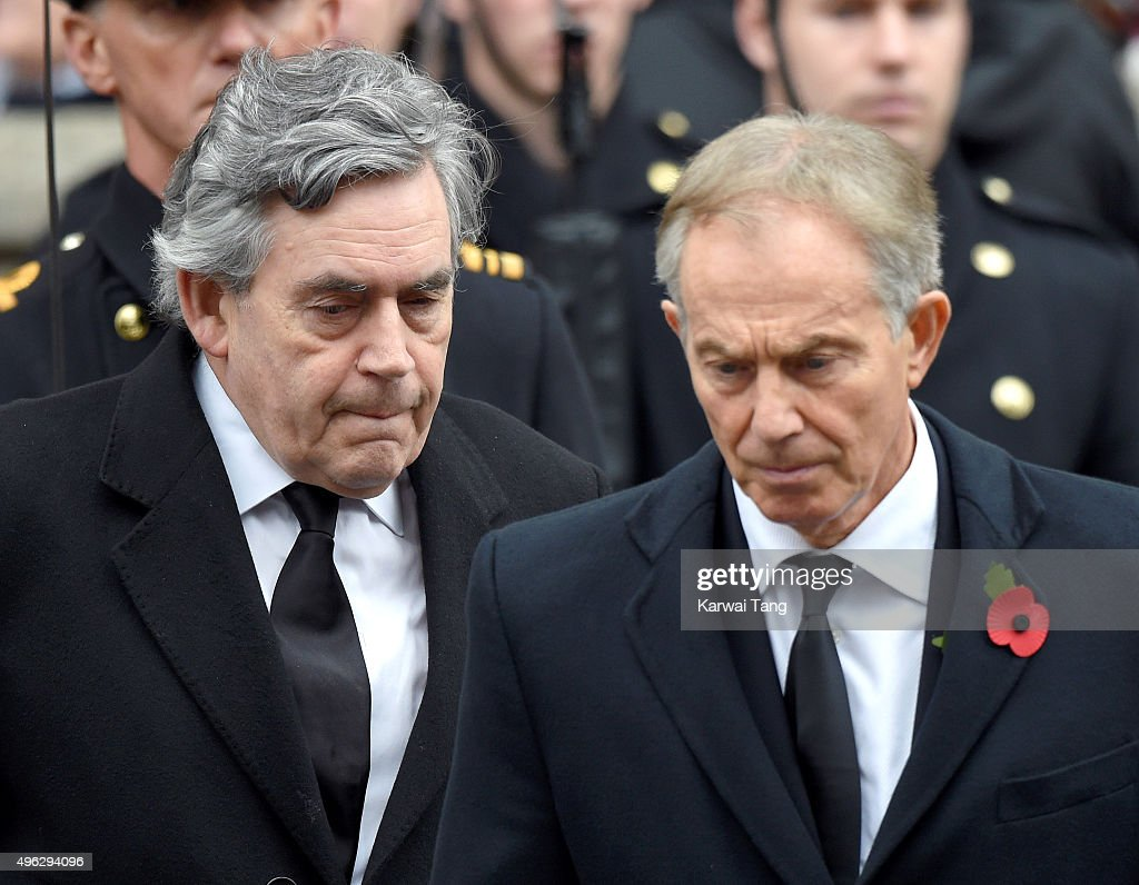 Gordon Brown and Tony Blair attend the annual Remembrance Sunday Service at the Cenotaph, Whitehall on November 8, 2015 in London, England.