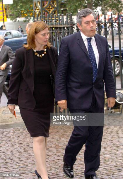 Gordon Brown and wife during Memorial Service for Lord Callaghan at Westminster Abbey in London Great Britain