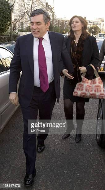 Gordon Brown Attends The Society Wedding Of Alan Parker Jane Hardman At Christ Church In Kensington London9/3/07