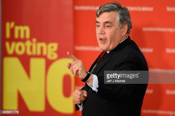 Gordon Brown former British Prime Minister gives a keynote speech during an event to mark the beginning of the last four weeks of the campaign on...