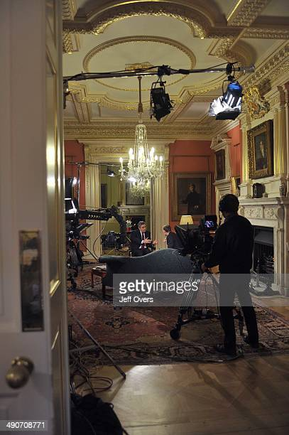 Gordon Brown interviewed by host Andrew Marr during the live broadcast from the Number 10 state rooms on BBC news and current affairs programme The...