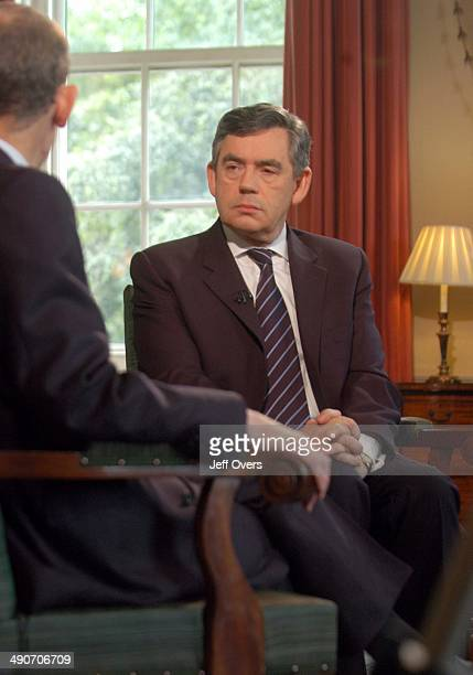 Gordon Brown interviewed by host Andrew Marr on BBC news and current affairs programme Sunday AM 1st July 2007 Staircase Stairs Number ten No ten...