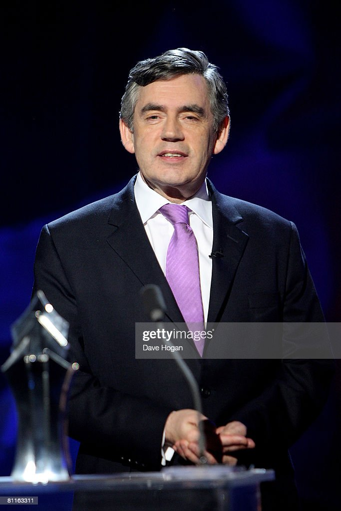 PM Gordon Brown speaks at the Britain's Best 2008 awards at London Television Studios on May 18, 2008 in London, England. The award ceremony honours outstanding Britons in categories including business, art, television, music, film, sport and fashion.