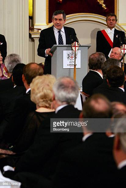 Gordon Brown the UK Chancellor of the Exchequer and Prime Ministerdesignate speaks at the Lord Mayor's dinner at Mansion House in London UK June 20...