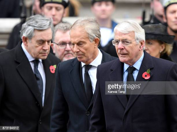 Gordon Brown Tony Blair and John Major during the annual Remembrance Sunday Service at The Cenotaph on November 12 2017 in London England