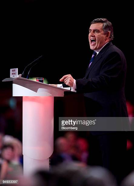 Gordon Brown UK prime minister delivers his keynote speech at the Labour party conference in Brighton UK on Tuesday Sept 29 2009 Brown pledged to...