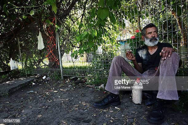 "Gordon Buchanan sits drinking in a park near Eveleigh Lane in the Aboriginal housing community known as ""The Block"" in Sydney, Australia. Gordon has..."