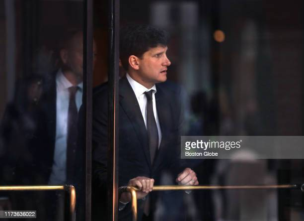 Gordon Caplan leaves the John Joseph Moakley United States Courthouse in Boston after his sentencing in the college admissions scandal on Oct. 3,...