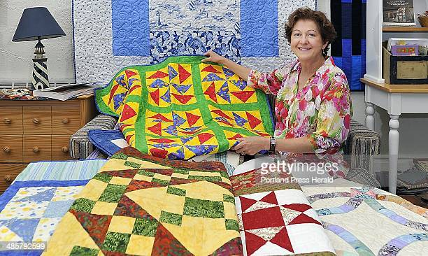 Gordon Chibroski Staff Photographer Friday June 17 2011 Shop Talk feature on Lori Brodsky owner of Coast of Maine Quilts LLC Lori Brodsky shows a...