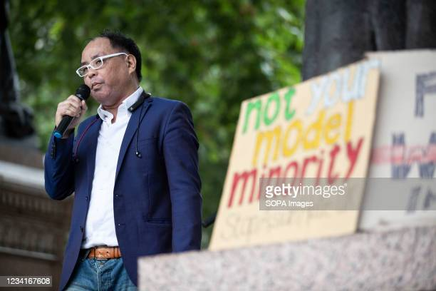 Gordon Chong, a member of British Chinese Society, speaks outside Parliament Square during the Stop Asian Hate rally in London. Demonstrators held a...