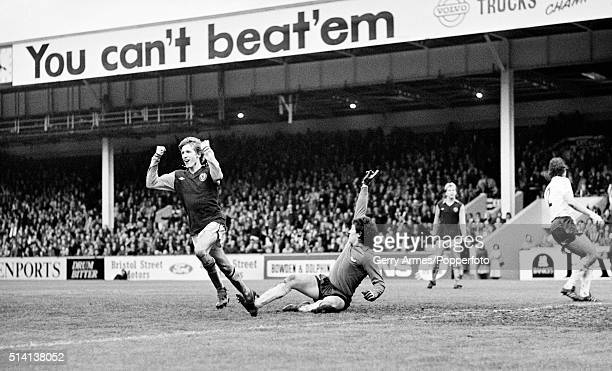 Gordon Cowans of Aston Villa celebrates but this 'goal' was disallowed during their First Division match against Bolton Wanderers at Villa Park in...