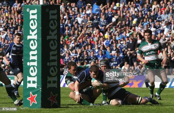 Gordon D'Arcy of Leinster is tackled during the Heineken Cup Final match between Leicester Tigers and Leinster at Murrayfield Stadium on May 23 2009...