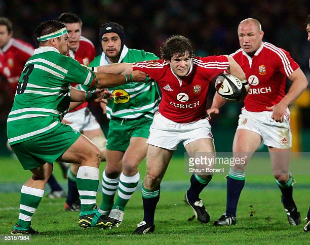 Gordon D'Arcy of the Lions is tackled by Kenni Barrett of Manawatu during the match between British and Irish Lions and Manawatu at Arena Manawatu on...